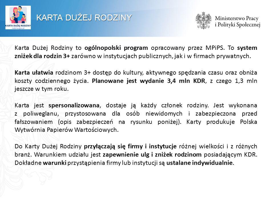 Karta Dużej Rodziny to ogólnopolski program opracowany przez MPiPS. To system zniżek dla rodzin 3+ zarówno w instytucjach publicznych, jak i w firmach