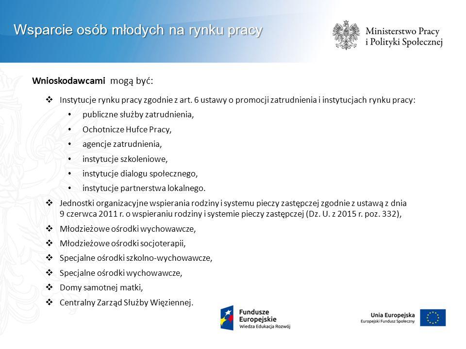 Wnioskodawcami mogą być:  Instytucje rynku pracy zgodnie z art. 6 ustawy o promocji zatrudnienia i instytucjach rynku pracy: publiczne służby zatrudn