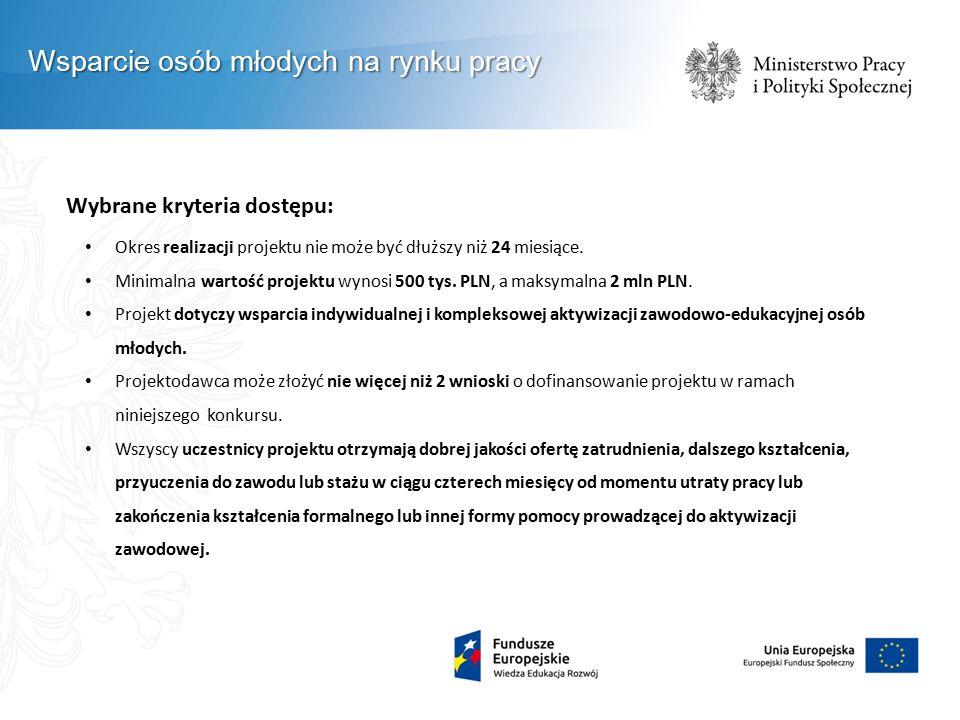 Wybrane kryteria dostępu: Okres realizacji projektu nie może być dłuższy niż 24 miesiące. Minimalna wartość projektu wynosi 500 tys. PLN, a maksymalna