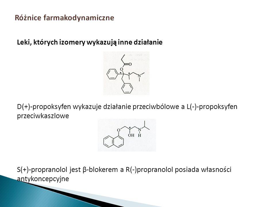Leki, których izomery wykazują inne działanie D(+)-propoksyfen wykazuje działanie przeciwbólowe a L(-)-propoksyfen przeciwkaszlowe S(+)-propranolol je