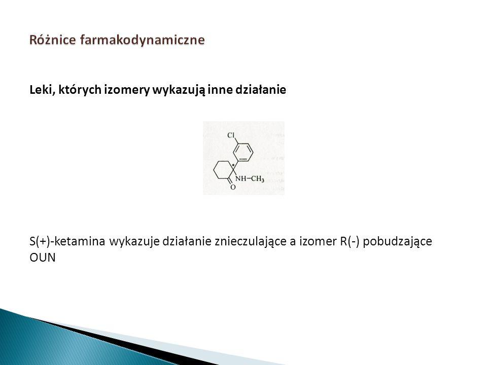 Leki, których izomery wykazują inne działanie S(+)-ketamina wykazuje działanie znieczulające a izomer R(-) pobudzające OUN