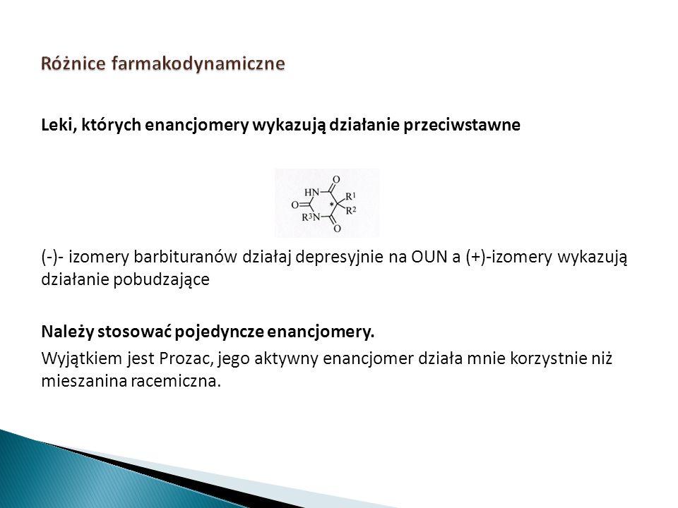 Leki, których enancjomery wykazują działanie przeciwstawne (-)- izomery barbituranów działaj depresyjnie na OUN a (+)-izomery wykazują działanie pobud