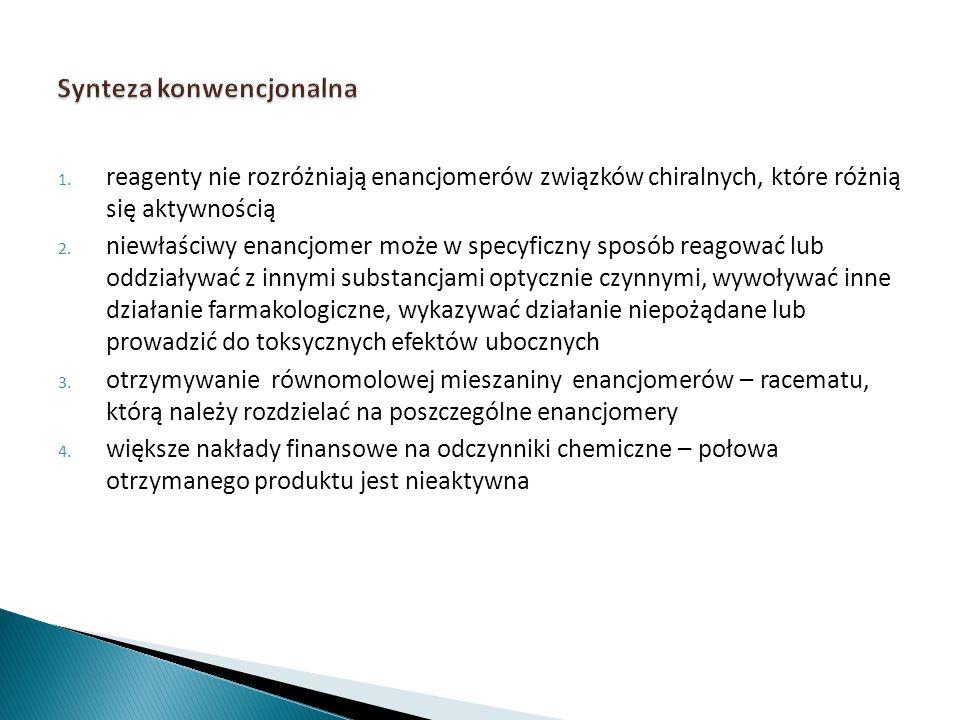 1. reagenty nie rozróżniają enancjomerów związków chiralnych, które różnią się aktywnością 2. niewłaściwy enancjomer może w specyficzny sposób reagowa
