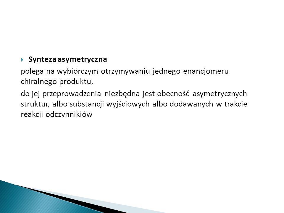 Stereoizomeria (izomeria przestrzenna) występowanie związków o jednakowym składzie chemicznym, różniących się przestrzennym ułożeniem atomów w przestrzeni Podział izomerii przestrzennej  izomeria geometryczna  izomeria optyczna Chiralność (asymetria) i centra asymetrii Cząsteczki chiralne są pozbawione wszelkich elementów symetrii – zawierają centrum asymetrii (centrum chiralnosci, centrum stereogeniczne) lub przemienną oś symetrii