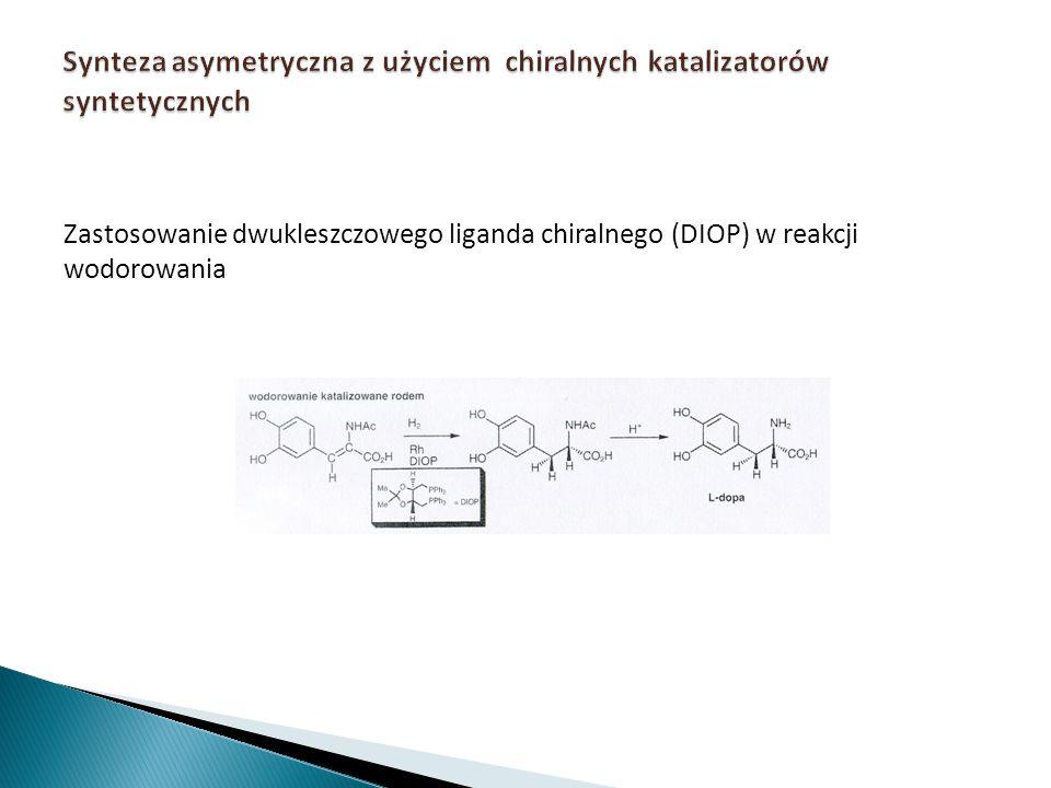 Zastosowanie dwukleszczowego liganda chiralnego (DIOP) w reakcji wodorowania