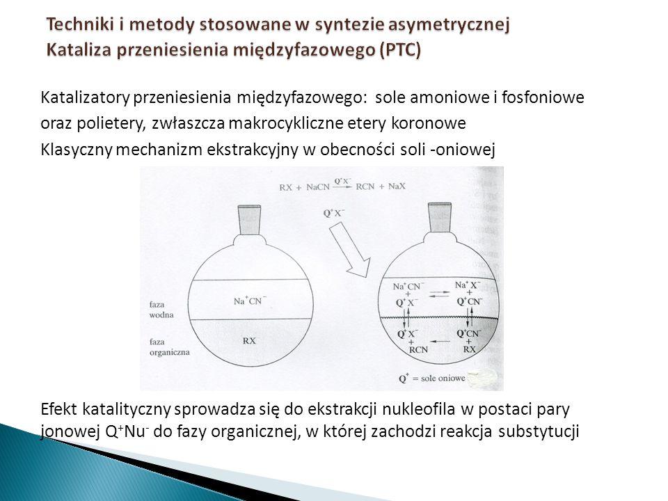 Katalizatory przeniesienia międzyfazowego: sole amoniowe i fosfoniowe oraz polietery, zwłaszcza makrocykliczne etery koronowe Klasyczny mechanizm ekst