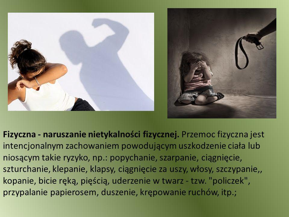 Fizyczna - naruszanie nietykalności fizycznej. Przemoc fizyczna jest intencjonalnym zachowaniem powodującym uszkodzenie ciała lub niosącym takie ryzyk