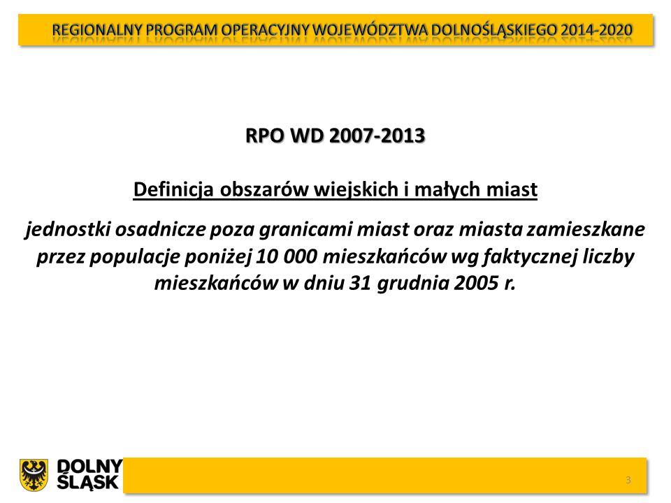 RPO WD 2014-2020 Definicja Obszary wiejskie (o małej gęstości zaludnienia) – kod 03 (kody wymiaru terytorialnego wymienione w załączniku nr 1 do Rozporządzenia Wykonawczego Komisji (UE) NR 215/2014 z dnia 7 marca 2014 r.