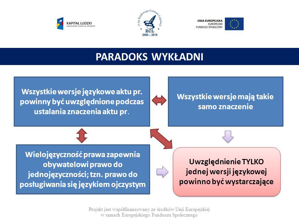 Zasada równej autentyczności wersji językowych Wszystkie wersje językowe aktu pr. powinny być uwzględnione podczas ustalania znaczenia aktu pr. Wszyst