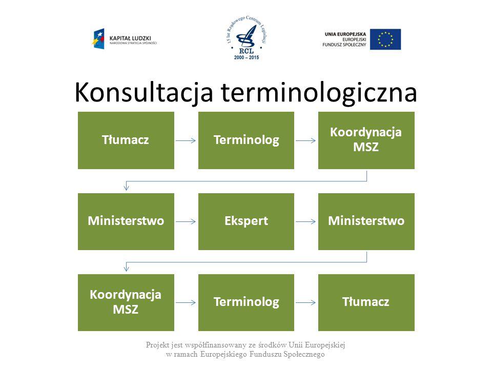Konsultacja terminologiczna Projekt jest współfinansowany ze środków Unii Europejskiej w ramach Europejskiego Funduszu Społecznego TłumaczTerminolog Koordynacja MSZ MinisterstwoEkspertMinisterstwo Koordynacja MSZ TerminologTłumacz