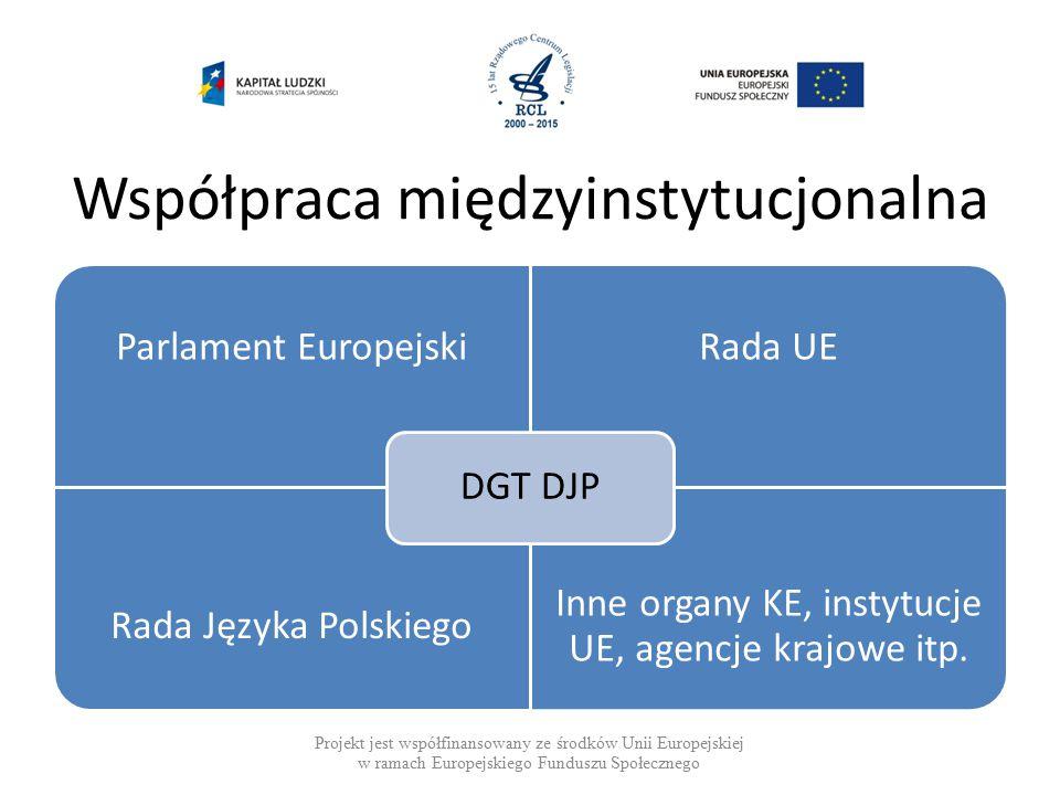 Współpraca międzyinstytucjonalna Projekt jest współfinansowany ze środków Unii Europejskiej w ramach Europejskiego Funduszu Społecznego Parlament EuropejskiRada UE Rada Języka Polskiego Inne organy KE, instytucje UE, agencje krajowe itp.