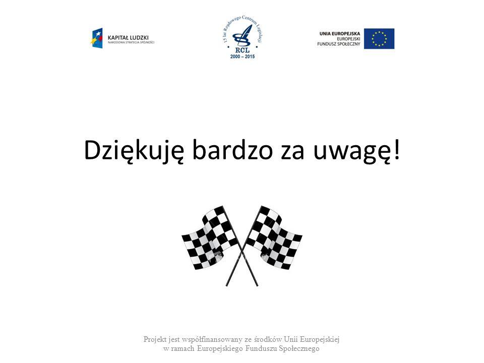 Projekt jest współfinansowany ze środków Unii Europejskiej w ramach Europejskiego Funduszu Społecznego Dziękuję bardzo za uwagę!