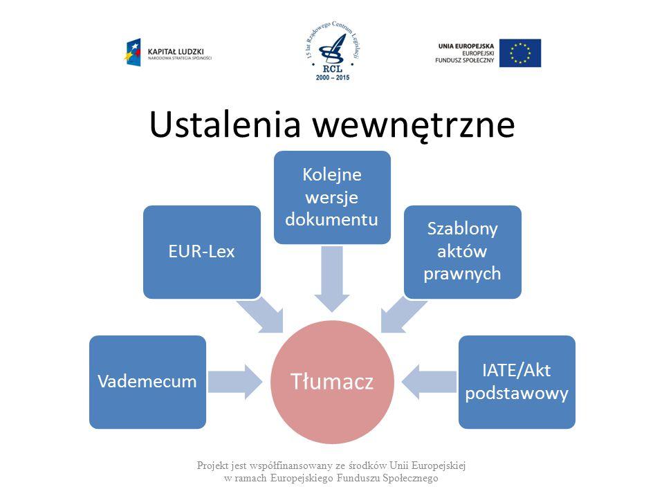 Ustalenia wewnętrzne Projekt jest współfinansowany ze środków Unii Europejskiej w ramach Europejskiego Funduszu Społecznego Tłumacz VademecumEUR-Lex Kolejne wersje dokumentu Szablony aktów prawnych IATE/Akt podstawowy