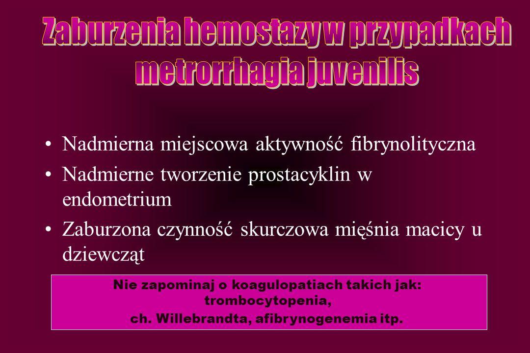 Nadmierna miejscowa aktywność fibrynolityczna Nadmierne tworzenie prostacyklin w endometrium Zaburzona czynność skurczowa mięśnia macicy u dziewcząt N