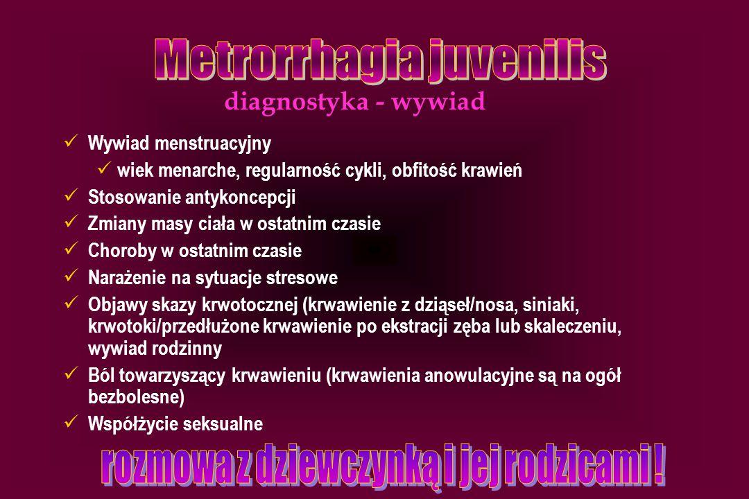 Wywiad menstruacyjny wiek menarche, regularność cykli, obfitość krawień Stosowanie antykoncepcji Zmiany masy ciała w ostatnim czasie Choroby w ostatni