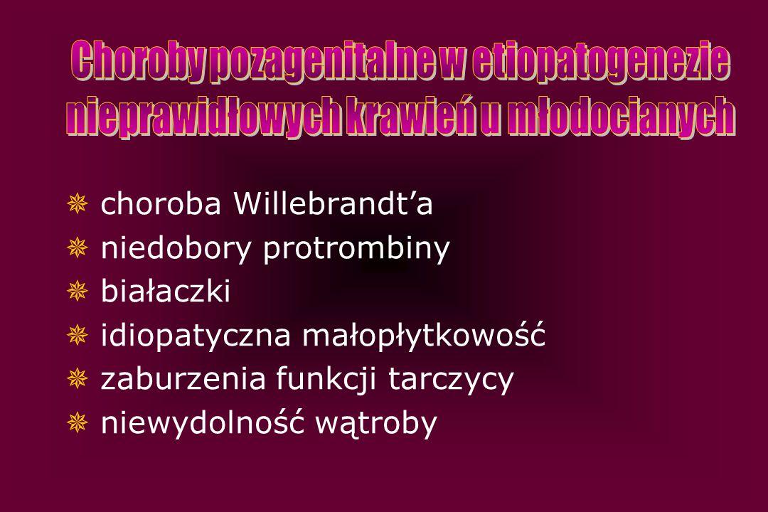  choroba Willebrandt'a  niedobory protrombiny  białaczki  idiopatyczna małopłytkowość  zaburzenia funkcji tarczycy  niewydolność wątroby
