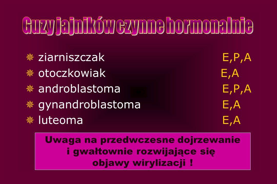  ziarniszczak E,P,A  otoczkowiak E,A  androblastoma E,P,A  gynandroblastoma E,A  luteoma E,A Uwaga na przedwczesne dojrzewanie i gwałtownie rozwi