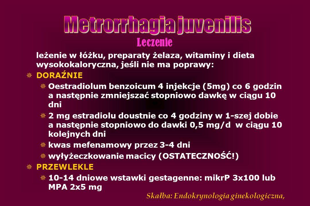 Leczenie leżenie w łóżku, preparaty żelaza, witaminy i dieta wysokokaloryczna, jeśli nie ma poprawy:  DORAŹNIE  Oestradiolum benzoicum 4 injekcje (5