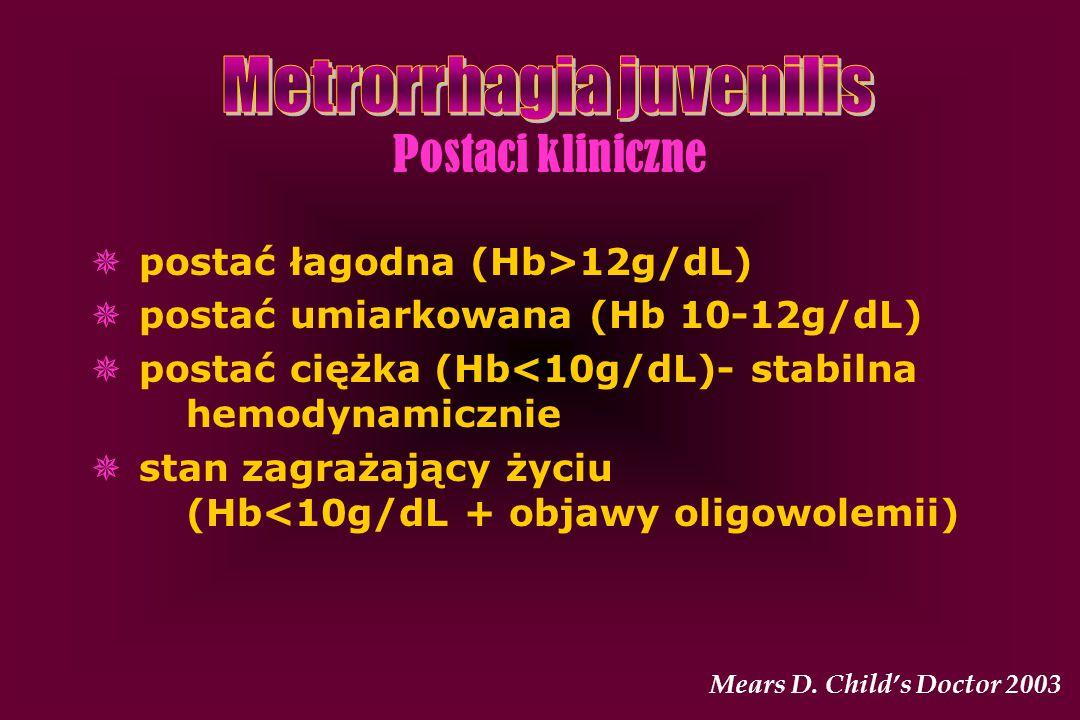 Postaci kliniczne  postać łagodna (Hb>12g/dL)  postać umiarkowana (Hb 10-12g/dL)  postać ciężka (Hb<10g/dL)- stabilna hemodynamicznie  stan zagraż