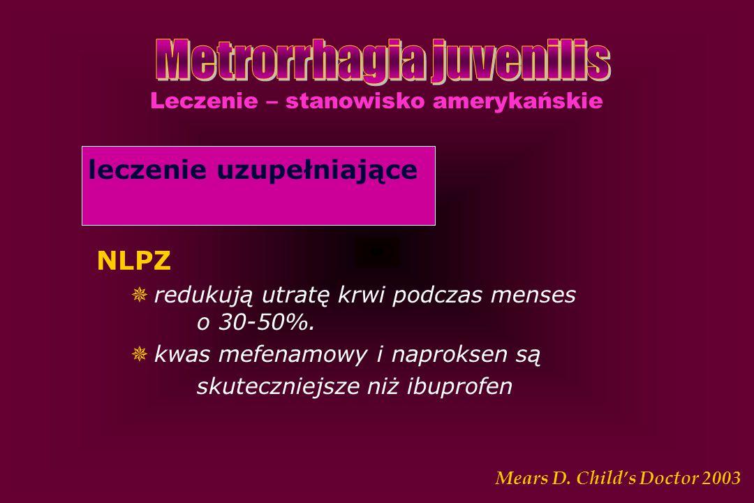 Leczenie – stanowisko amerykańskie leczenie uzupełniające NLPZ  redukują utratę krwi podczas menses o 30-50%.  kwas mefenamowy i naproksen są skutec