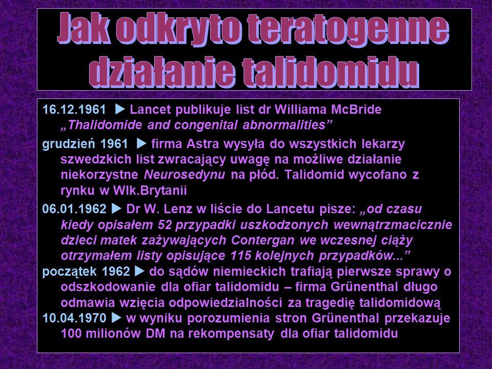 """16.12.1961  Lancet publikuje list dr Williama McBride """"Thalidomide and congenital abnormalities grudzień 1961  firma Astra wysyła do wszystkich lekarzy szwedzkich list zwracający uwagę na możliwe działanie niekorzystne Neurosedynu na płód."""