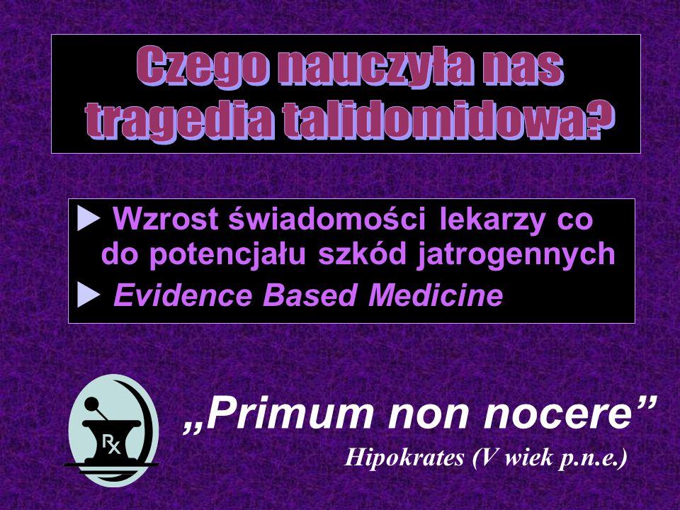 """Primum non nocere Hipokrates (V wiek p.n.e.)  Wzrost świadomości lekarzy co do potencjału szkód jatrogennych  Evidence Based Medicine"