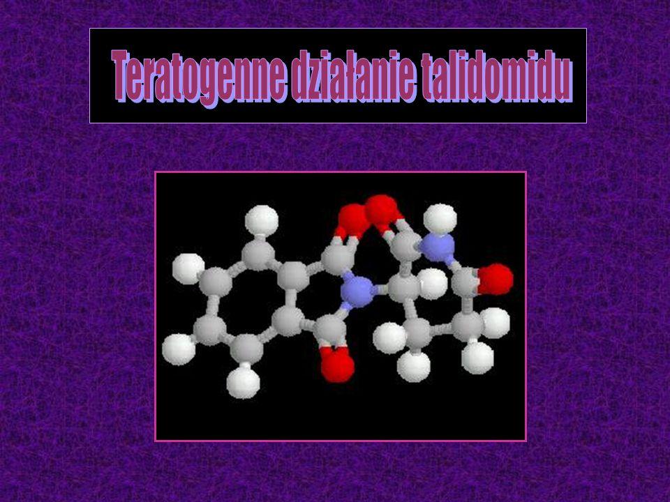 1:1 enancjomer lewoskrętny enancjomer prawoskrętny mieszanina dwóch stereoizomerów sedativum, antiemeticum S-talidomidR-talidomid teratogen