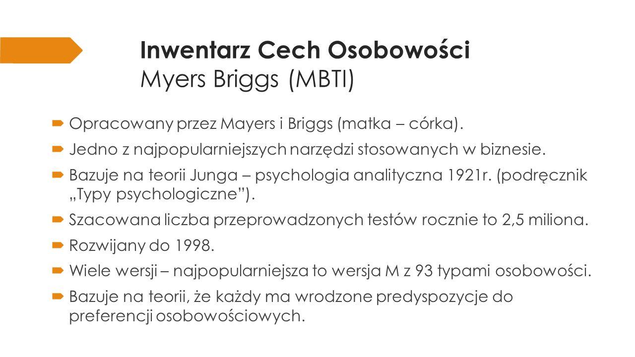 Inwentarz Cech Osobowości Myers Briggs (MBTI) Ekstrawertyczny Zmysłowy Myślący Osądzający Introwertyczny Intuicyjny Odczuwający Spostrzegający pary alternatywnych preferencji