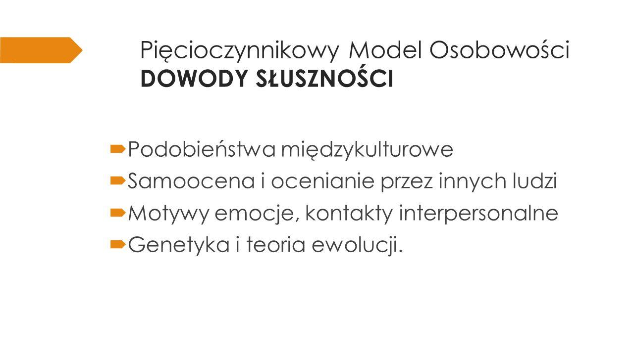 Pięcioczynnikowy Model Osobowości WYMIARY (1z5) dobre przystosowanie vs.