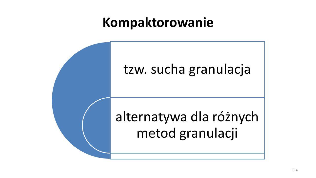 Kompaktorowanie tzw. sucha granulacja alternatywa dla różnych metod granulacji 114