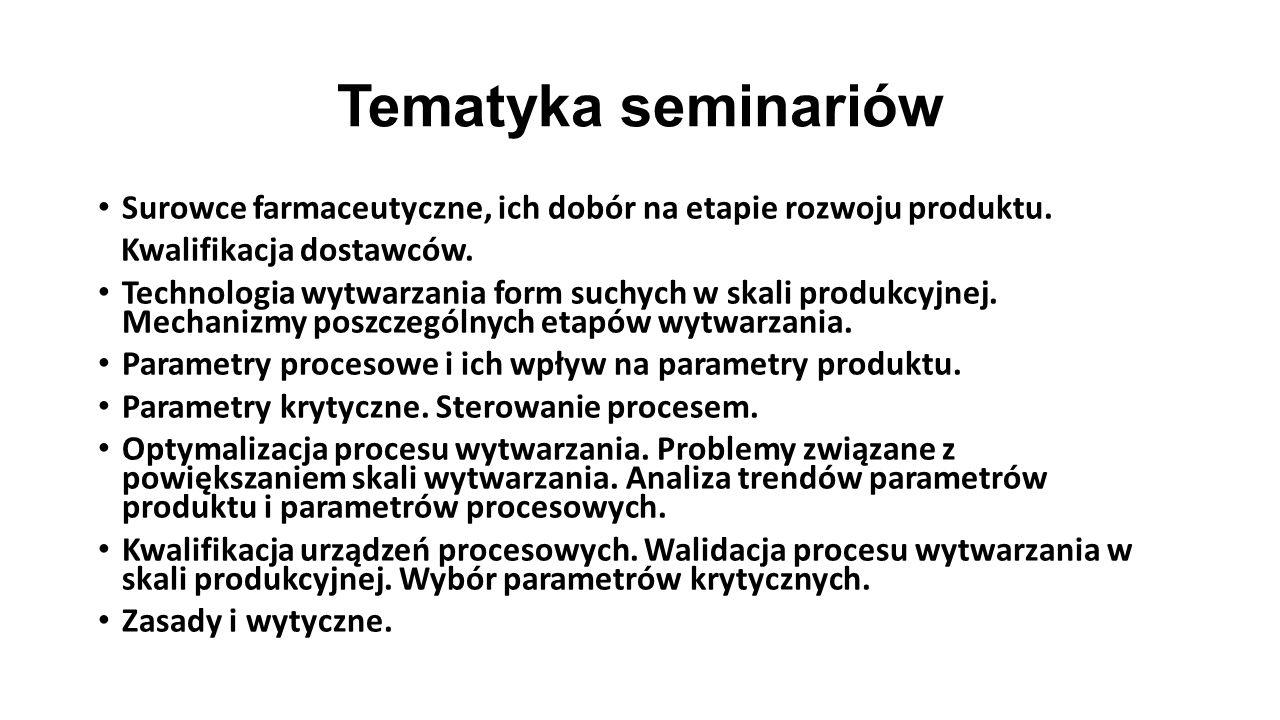 Tematyka seminariów Surowce farmaceutyczne, ich dobór na etapie rozwoju produktu. Kwalifikacja dostawców. Technologia wytwarzania form suchych w skali