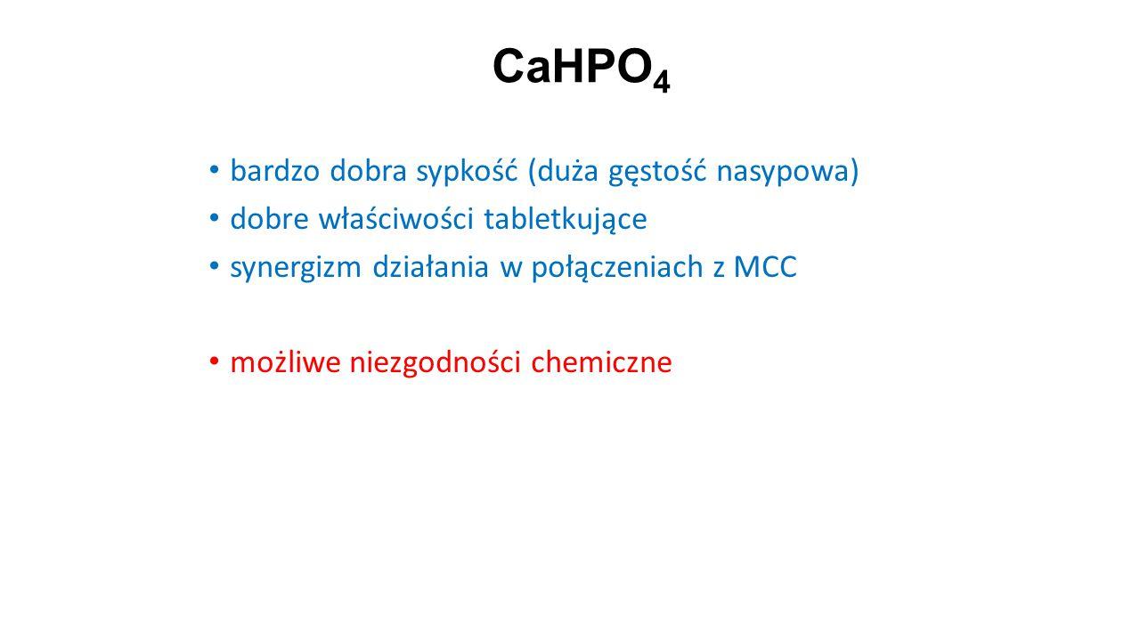 CaHPO 4 22 bardzo dobra sypkość (duża gęstość nasypowa) dobre właściwości tabletkujące synergizm działania w połączeniach z MCC możliwe niezgodności c