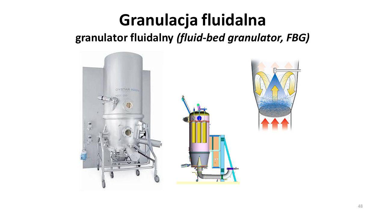 Granulacja fluidalna granulator fluidalny (fluid-bed granulator, FBG) 48