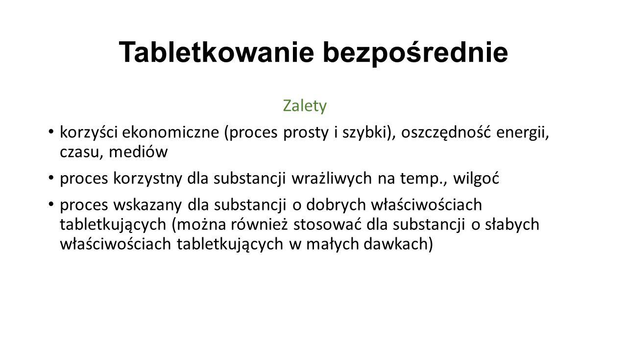 Tabletkowanie bezpośrednie ZaletyZalety korzyści ekonomiczne (proces prosty i szybki), oszczędność energii, czasu, mediów proces korzystny dla substan