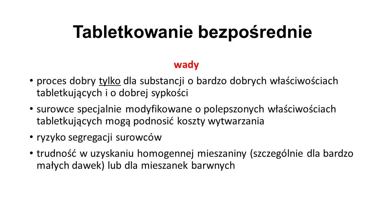 Tabletkowanie bezpośrednie wady proces dobry tylko dla substancji o bardzo dobrych właściwościach tabletkujących i o dobrej sypkości surowce specjalni