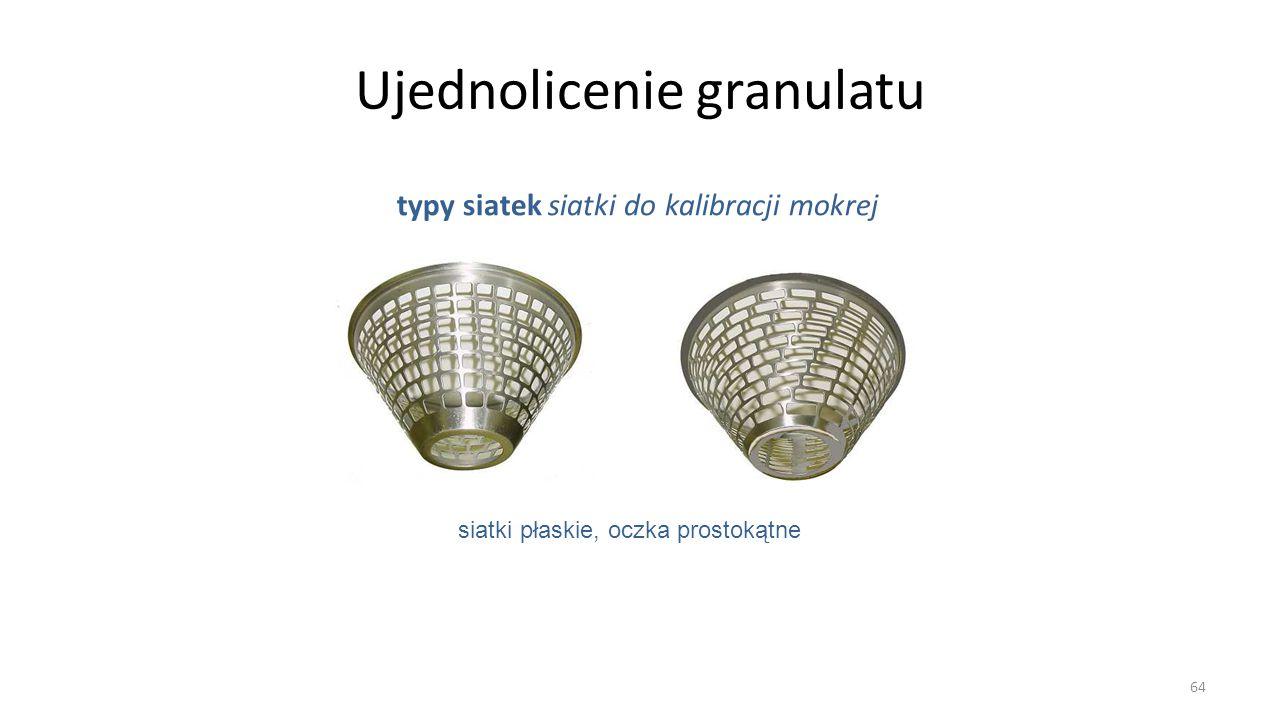 Ujednolicenie granulatu typy siatek siatki do kalibracji mokrej 64 siatki płaskie, oczka prostokątne