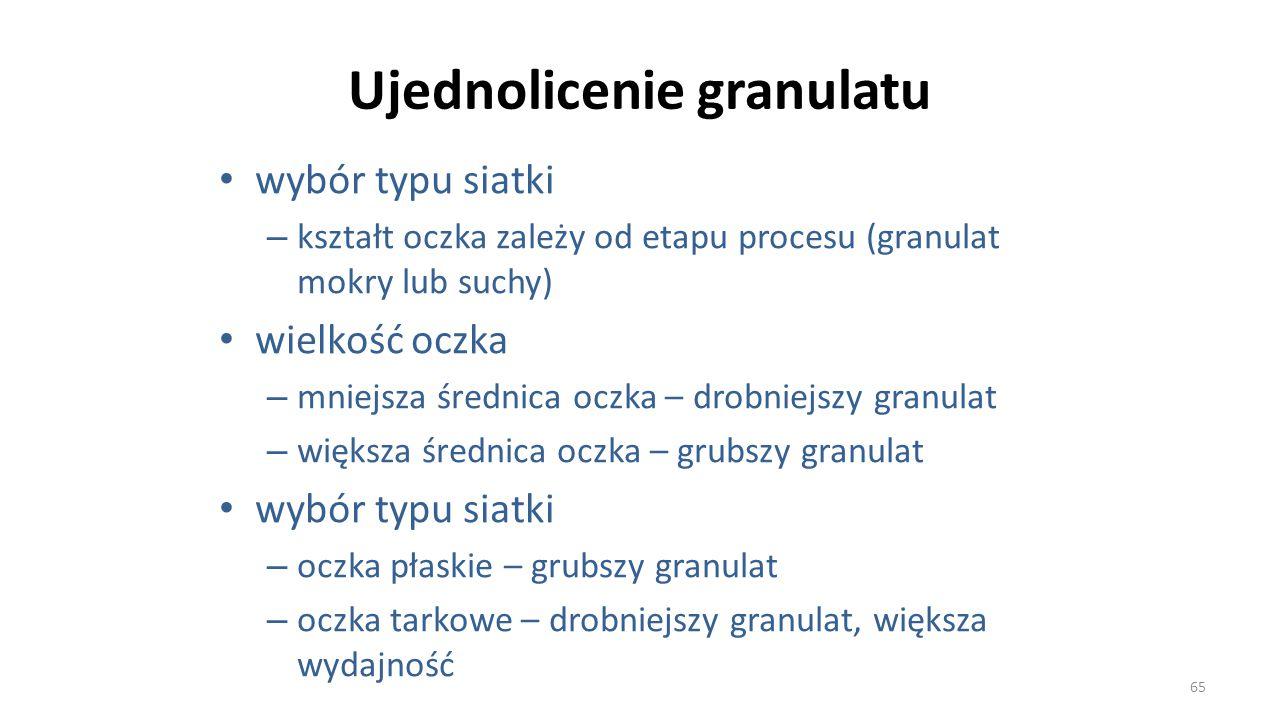 Ujednolicenie granulatu wybór typu siatki – kształt oczka zależy od etapu procesu (granulat mokry lub suchy) wielkość oczka – mniejsza średnica oczka
