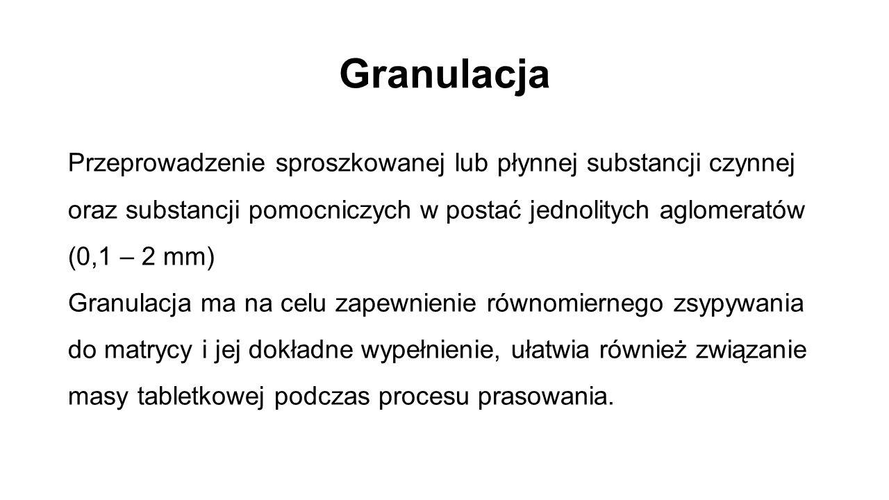 Granulacja Przeprowadzenie sproszkowanej lub płynnej substancji czynnej oraz substancji pomocniczych w postać jednolitych aglomeratów (0,1 – 2 mm) Gra
