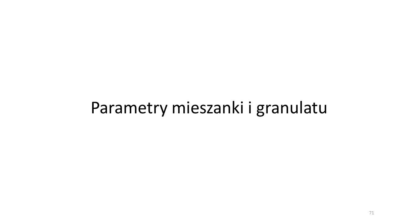 Parametry mieszanki i granulatu 71