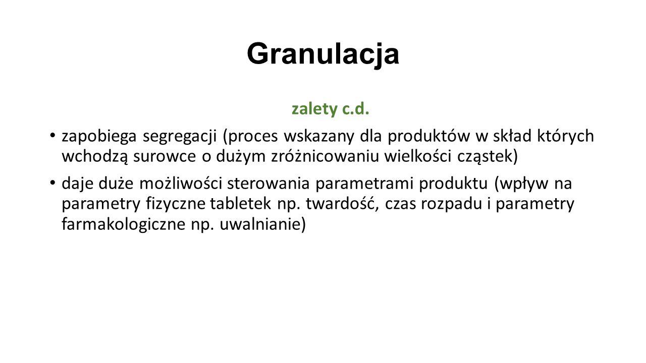 Granulacja zalety c.d. zapobiega segregacji (proces wskazany dla produktów w skład których wchodzą surowce o dużym zróżnicowaniu wielkości cząstek) da