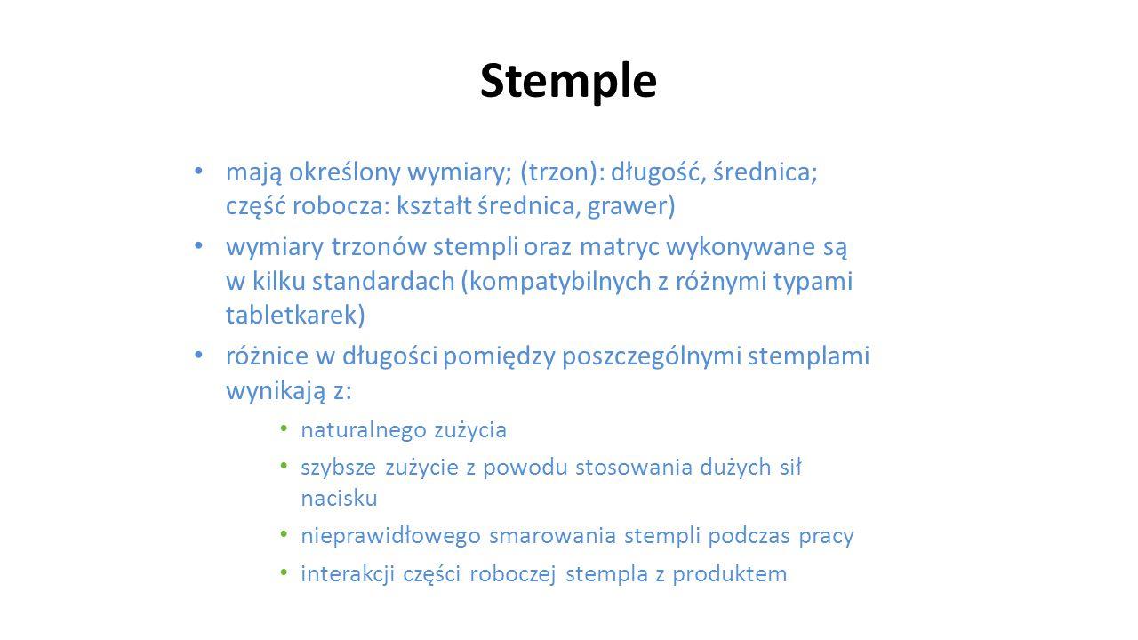 Stemple mają określony wymiary; (trzon): długość, średnica; część robocza: kształt średnica, grawer) wymiary trzonów stempli oraz matryc wykonywane są