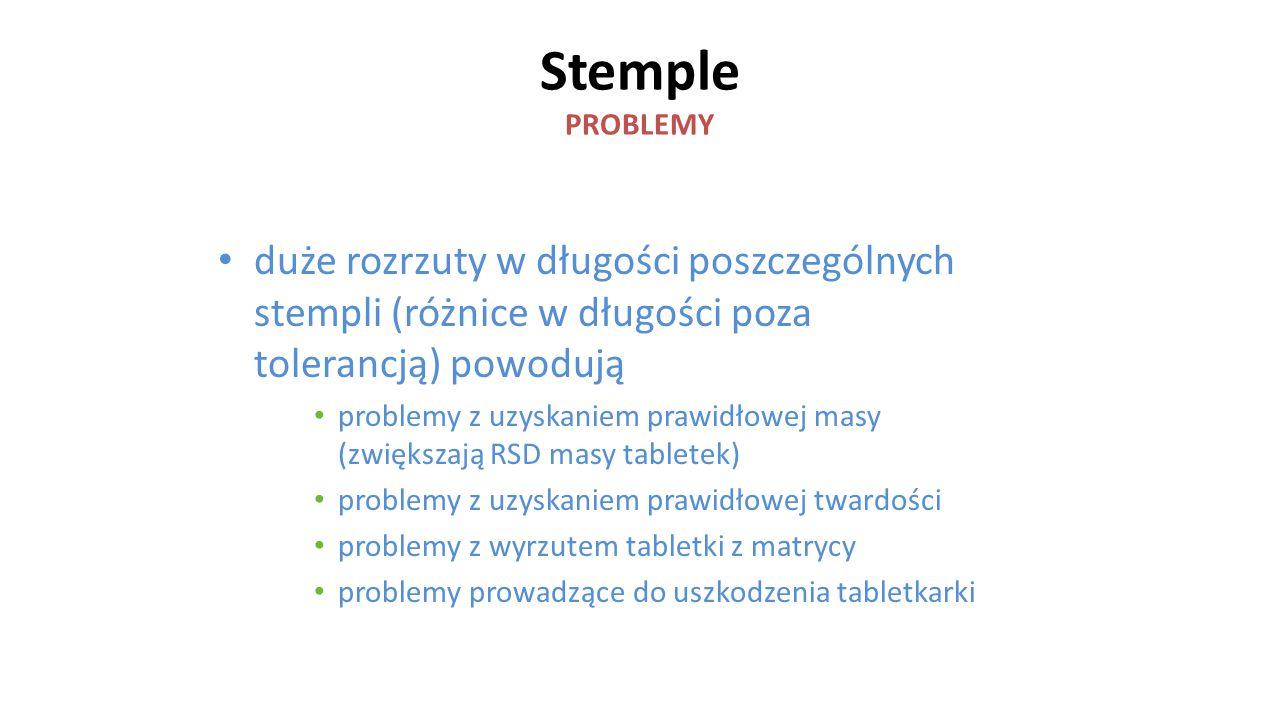 Stemple PROBLEMY duże rozrzuty w długości poszczególnych stempli (różnice w długości poza tolerancją) powodują problemy z uzyskaniem prawidłowej masy