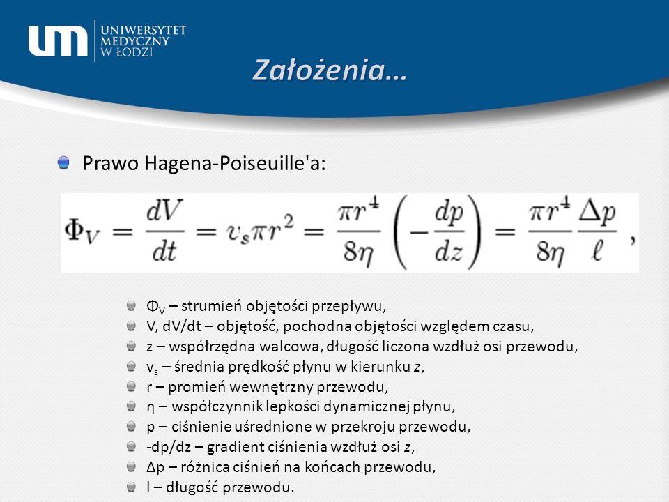 Prawo Hagena-Poiseuille a: Φ V – strumień objętości przepływu, V, dV/dt – objętość, pochodna objętości względem czasu, z – współrzędna walcowa, długość liczona wzdłuż osi przewodu, v s – średnia prędkość płynu w kierunku z, r – promień wewnętrzny przewodu, η – współczynnik lepkości dynamicznej płynu, p – ciśnienie uśrednione w przekroju przewodu, -dp/dz – gradient ciśnienia wzdłuż osi z, Δp – różnica ciśnień na końcach przewodu, l – długość przewodu.