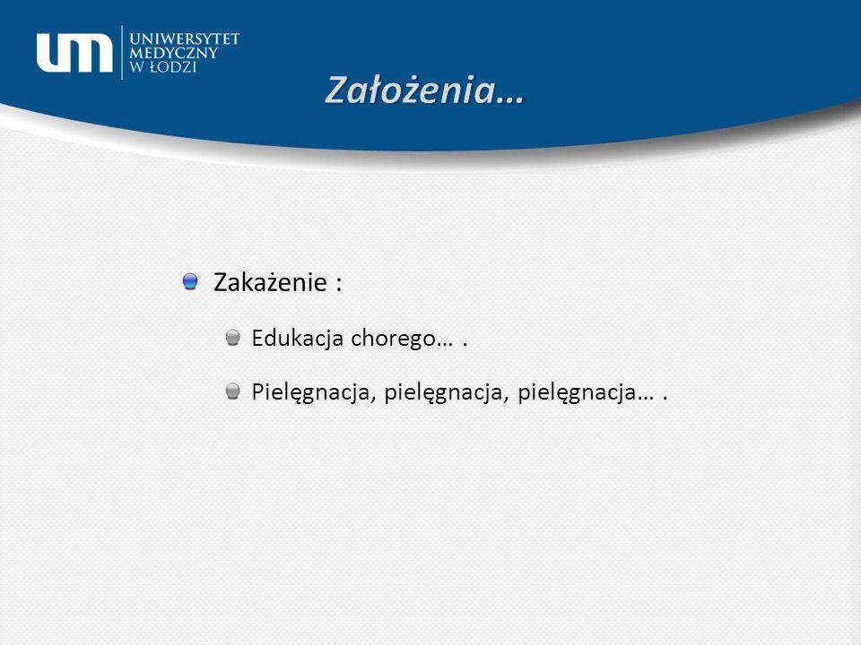 Zakażenie : Edukacja chorego…. Pielęgnacja, pielęgnacja, pielęgnacja….