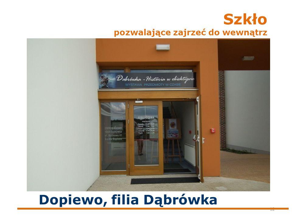 Szkło pozwalające zajrzeć do wewnątrz 12 Dopiewo, filia Dąbrówka