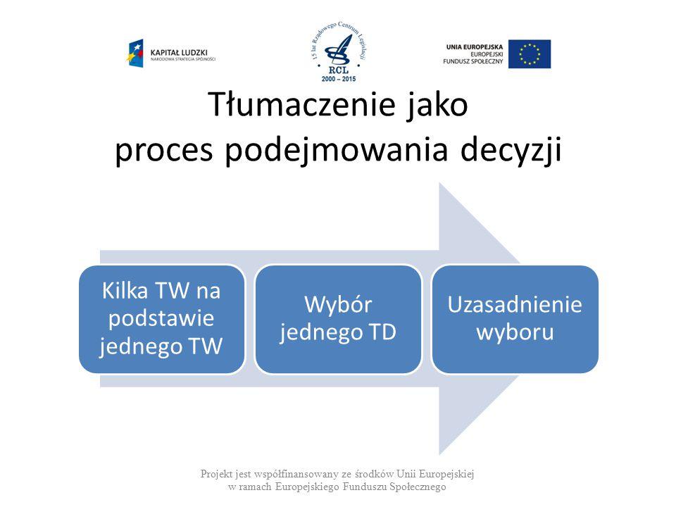 Tłumaczenie jako proces podejmowania decyzji Projekt jest współfinansowany ze środków Unii Europejskiej w ramach Europejskiego Funduszu Społecznego Kilka TW na podstawie jednego TW Wybór jednego TD Uzasadnienie wyboru
