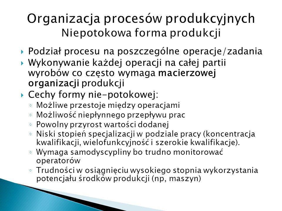  Podział procesu na poszczególne operacje/zadania  Wykonywanie każdej operacji na całej partii wyrobów co często wymaga macierzowej organizacji prod