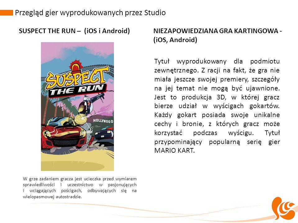 Przegląd gier wyprodukowanych przez Studio SUSPECT THE RUN – (iOS i Android)NIEZAPOWIEDZIANA GRA KARTINGOWA - (iOS, Android) W grze zadaniem gracza je