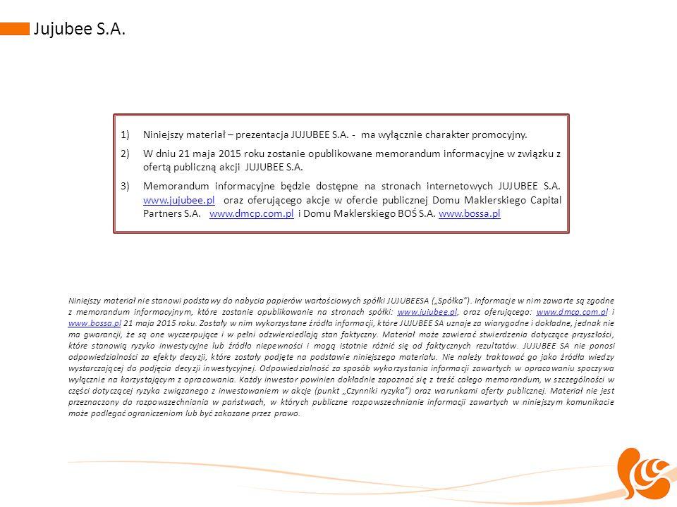 """Niniejszy materiał nie stanowi podstawy do nabycia papierów wartościowych spółki JUJUBEESA (""""Spółka""""). Informacje w nim zawarte są zgodne z memorandum"""