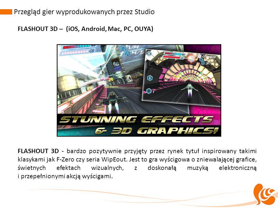 FLASHOUT 3D – (iOS, Android, Mac, PC, OUYA) FLASHOUT 3D - bardzo pozytywnie przyjęty przez rynek tytuł inspirowany takimi klasykami jak F-Zero czy ser